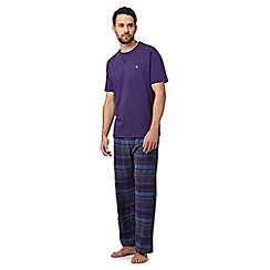 Mantaray - Big and tall purple checked t-shirt and bottoms pyjama set
