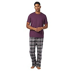 Maine New England - Big and tall purple checked loungewear set