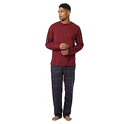 Maine New England - Big and tall dark red checked loungewear set