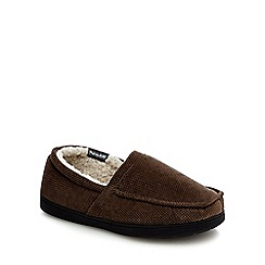Maine New England - Taupe 'Thinsulate' textured slippers