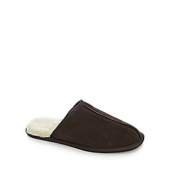 RJR.John Rocha - Brown fleece lined backless slippers