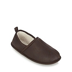 Mantaray - Brown fleece lined slippers
