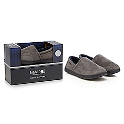 Maine New England - Grey microsuede slippers in a gift box
