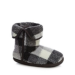 Mantaray - Grey check print slipper boots