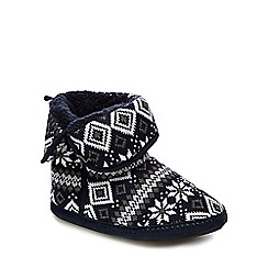 Mantaray - Navy fair isle patterned slipper boots