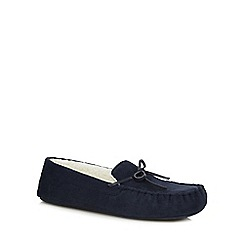 Maine New England - Navy moccasin slippers in a gift box