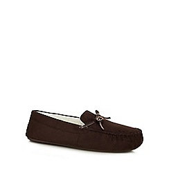 Maine New England - Dark brown moccasin slippers