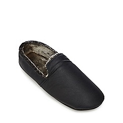Maine New England - Black faux fur lined slippers