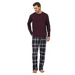 Maine New England - Big and tall dark purple checked loungewear set