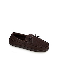 Totes - Brown cord lace moccasin slippers