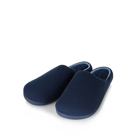 Totes - Navy jersey mule slippers