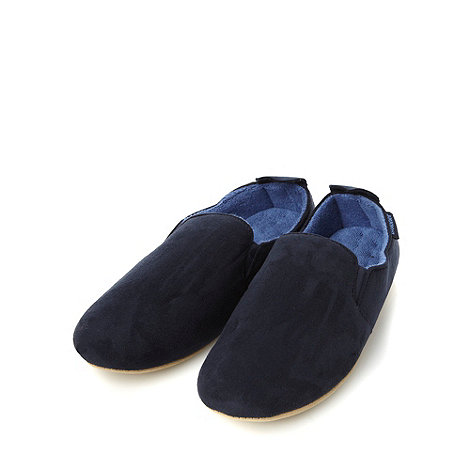 Totes - Navy faux suede soled carpet slippers