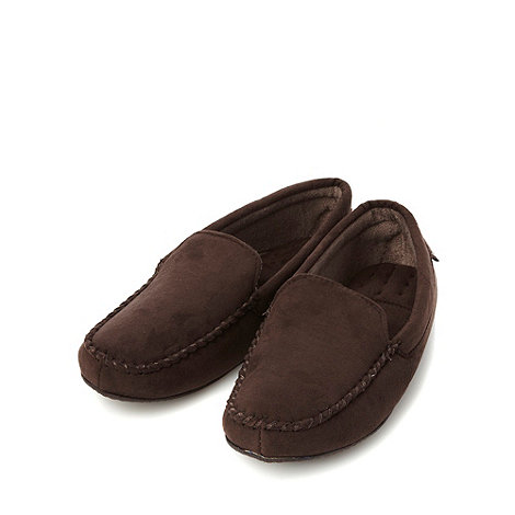 Totes - Brown arched cushioning moccasin slippers