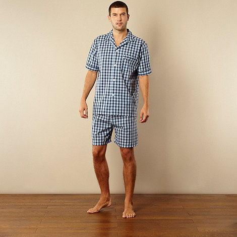 Maine New England - Blue woven checked shorts pyjama set