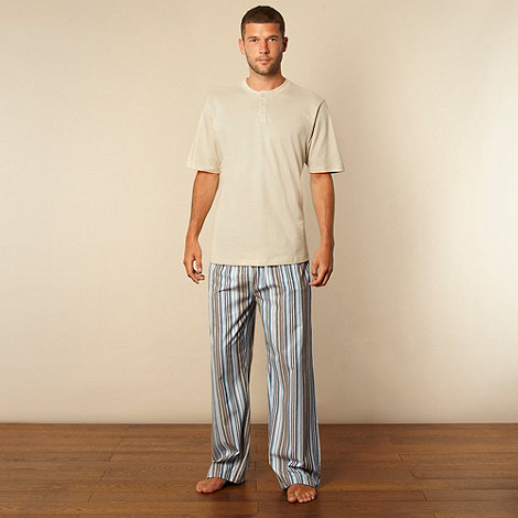 Maine New England - Natural button neck t-shirt and striped trouser loungewear set