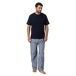Maine New England - Big and tall navy t-shirt and striped bottoms loungewear set