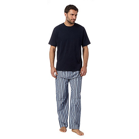 Maine New England - Navy t-shirt and striped bottoms loungewear set