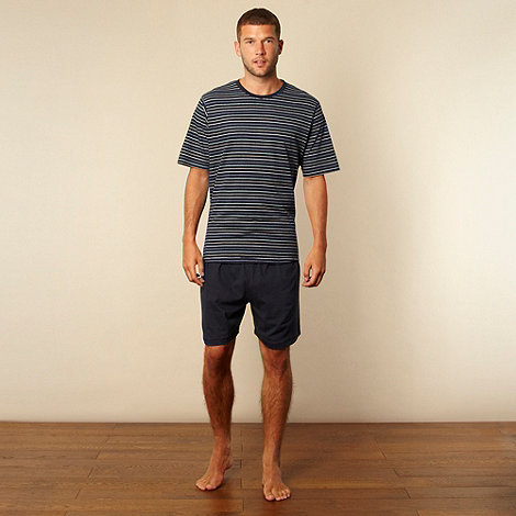 Maine New England - Navy striped t-shirt and plain shorts loungewear set