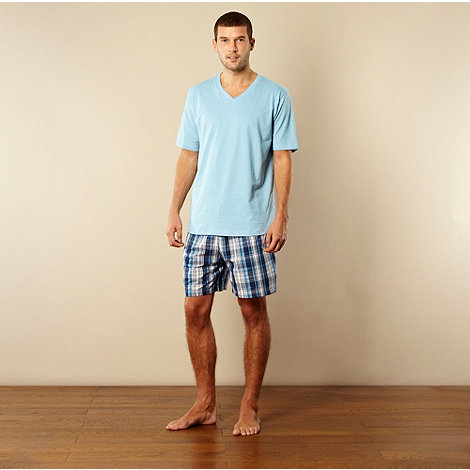 Maine New England - Blue t-shirt and checked shorts loungewear set