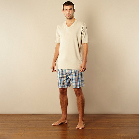 Maine New England - Natural t-shirt and checked shorts loungewear set