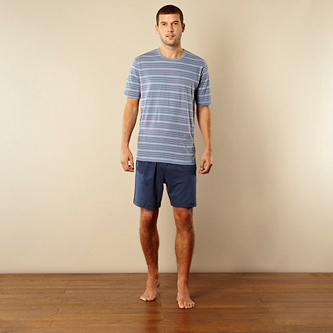 Maine New England - Blue striped t-shirt and jersey shorts loungewear set