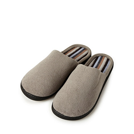 Maine New England - Taupe towelling mule slippers