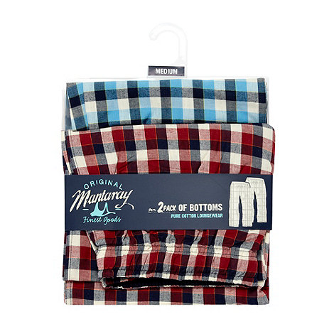 Mantaray - Pack of two blue checked pyjama bottoms