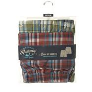 Pack of two red and green woven checked shorts