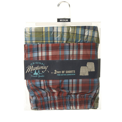 Mantaray - Pack of two red and green woven checked shorts