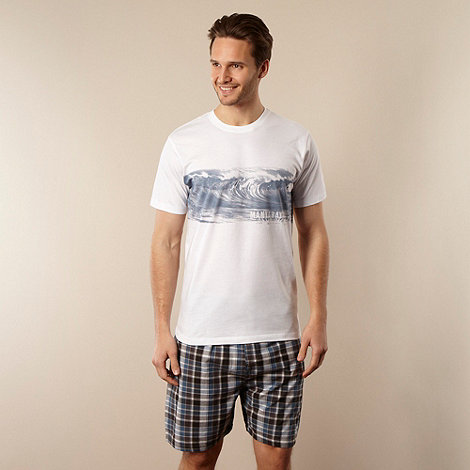 Mantaray - White wave print t-shirt and shorts