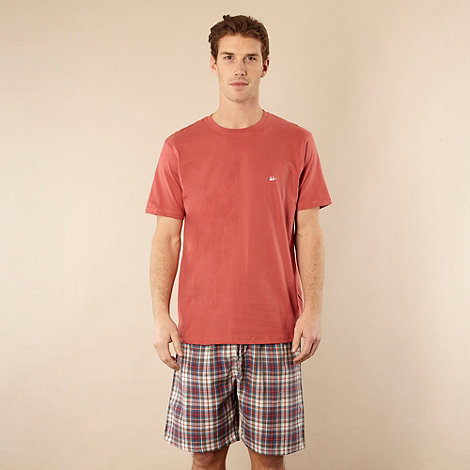 Mantaray - Dark peach t-shirt and checked shorts
