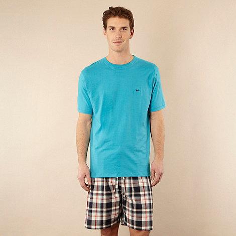 Mantaray - Turquoise t-shirt and checked shorts set