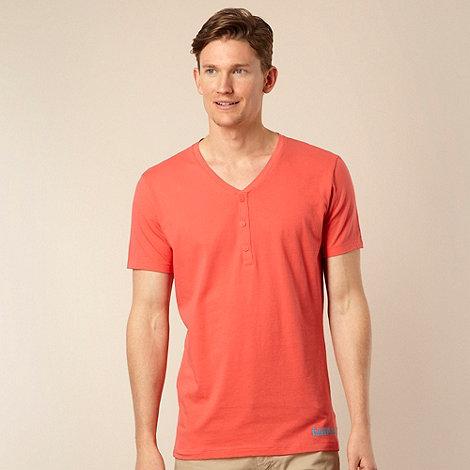 Calvin Klein - Dark peach button up neck t-shirt