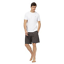 Tommy Hilfiger - White t-shirt and grey striped shorts pyjama set