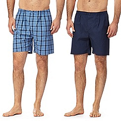 Maine New England - Big and tall pack of two navy checked pyjama shorts