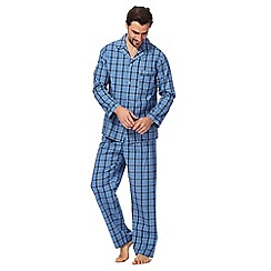 Maine New England - Big and tall navy and blue checked long-sleeved pyjama set
