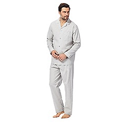 Hammond & Co. by Patrick Grant - Big and tall grey plain long-sleeved pyjama set