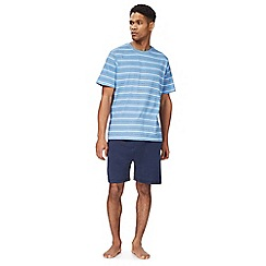 Maine New England - Big and tall light blue striped print pyjama top and shorts