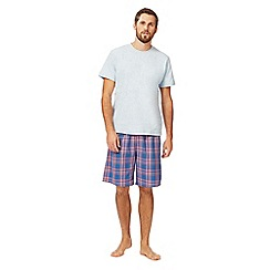 Mantaray - Big and tall grey marl t-shirt and checked shorts loungewear set