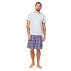 Mantaray - Big and tall grey marl t-shirt and checked shorts loungewear set