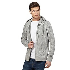 Red Herring - Big and tall grey zip through hoodie