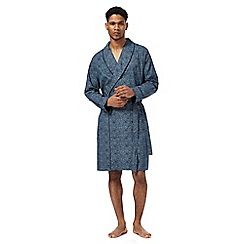 Hammond & Co. by Patrick Grant - Big and tall navy wave print dressing gown
