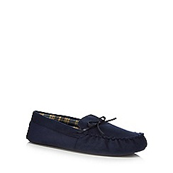 Maine New England - Navy microsuede moccasin slippers