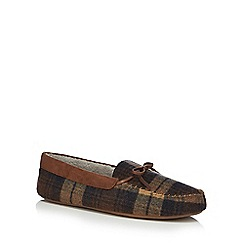 RJR.John Rocha - Brown checked moccasin slippers