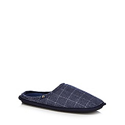 Hammond & Co. by Patrick Grant - Navy checked mule slippers