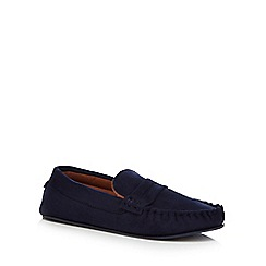 Hammond & Co. by Patrick Grant - Navy microfibre moccasin slippers