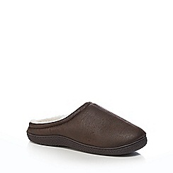 Mantaray - Brown textured mule slippers