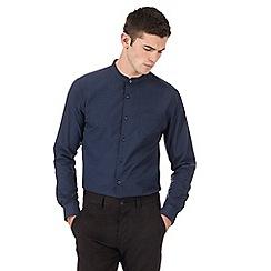 Red Herring - Navy gingham checked slim fit granddad shirt