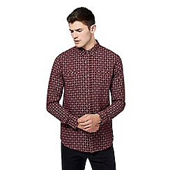 Red Herring - Dark red checked print slim fit shirt