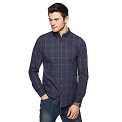 Red Herring - Navy and dark orange checked slim fit shirt
